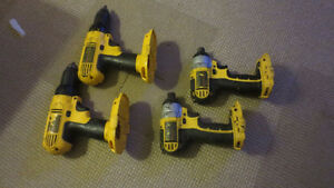 Four Used Dewalt drills 18V Impact Driver No batteries/Charger
