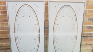 SHOWER GLASS DOORS -FLORAL FROSTED -NEW CONDITION