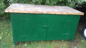 Steel work bench with Wood top