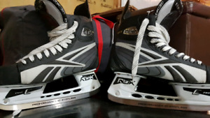 CCM hockey helmet and Reebok Skates