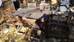 IKEA patio table with two armchairs & four foldable chairs