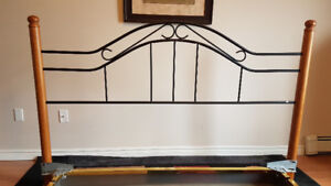 King size wood and metal headboard and bed frame
