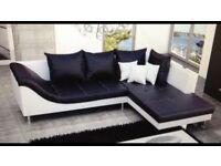 Perfect condition black and white corner sofa