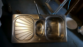 Stainless steel Kitchen sink with tap one and a half bowl 1.5 bowl
