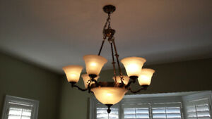 Diningroom Chandelier & 2 wall sconces in antique gold