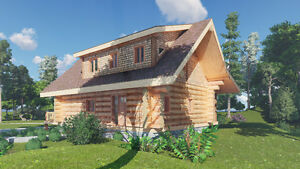Building logs for log cabins or log homes