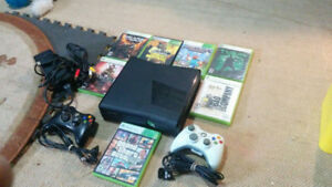 Xbox 360 Slim, 7 games 2 wireless/wired controllers