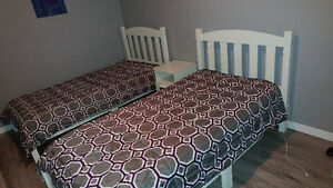 Two twin size beds, only one mattress and two matching blanket s Kitchener / Waterloo Kitchener Area image 1