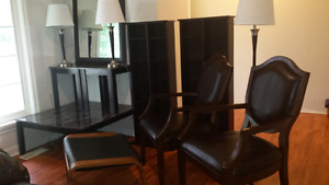 Lot 200- MEDIA shelf 40 each AR chairs LAMPS  coffee TABLES