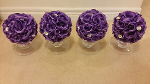 Purple Flowers in Vase Jeweled Centerpiece Wedding, Bridal