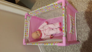 Doll Crib w/ Doll, Bassinet (x2) and backpack carrier