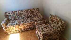 Hide-a-bed couch and matching chair