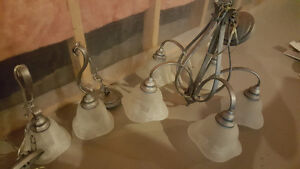 5 light chandelier and 2 matching pendant lights