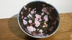 Cloisonne Bowl Japanese Cherry Blossom Butterfly Made in China