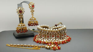 Latest Indian Bollywood Wedding Red Choker Necklace Set