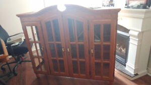 Solid Oak Lighted Hutch made in Quebec by Shermag