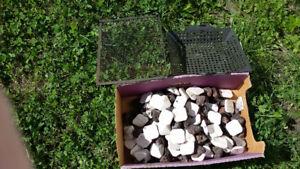Briquettes céramique et lave, panier à légume et grille