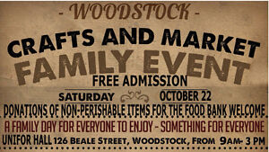 Vendors wanted for our Family Day Crafts/Market Woodstock OCT.22