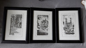 Quebec prints- black and white- set of three only $20!