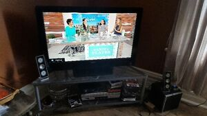 "Sony Bravia 40"" LCD TV with/ glass and metal stand"
