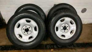 265/70/17 BFG Snow tires on steel wheels. Ford F150