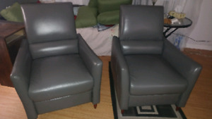 "***NEW*** PAIR of ""MARA"" BONDED GREY LEATHER CHAIRS"""