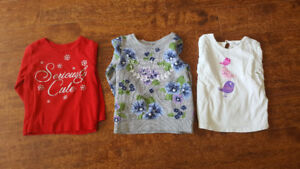 Girl's 2T size 5 shirts, 1 roots jacket, 1 sweater for $15