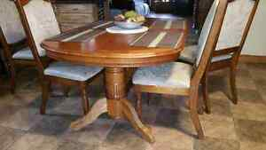 Dining  table  with  six chairs extra leaf