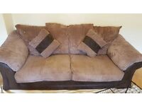 Dfs brown fabric sofa set 3 + 2 + footstool