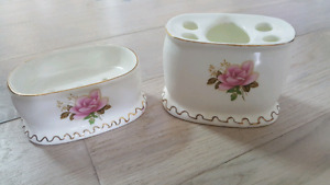 Vintage soap dish and toothbrush holder