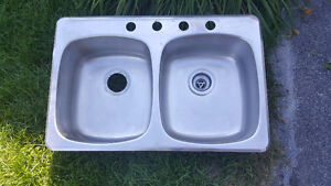 Evier double en inox / stainless steel double sink West Island Greater Montréal image 1