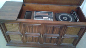 Record Player, 8 Track and Radio Stereo Cabinet.