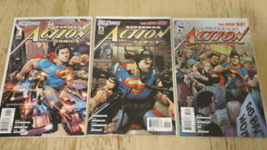 Action Comics: Superman - New 52 #1,2,3 1st Printings