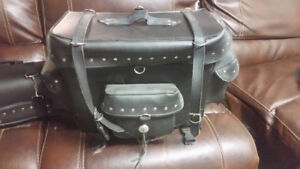 Leather motorcycle touring bags and saddle bags