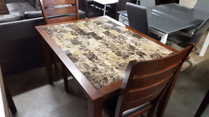marble style dining table with 2 chairs - delivery available