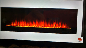 "(2) Stunning 48""×24"" wall mounted glass fire places"