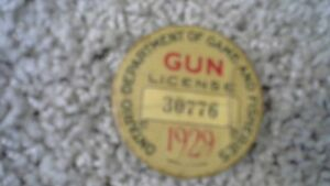 VINTAGE 1929 ONTARIO GUN LICENSE