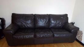 Brown Luxury leather sofa bed DFS