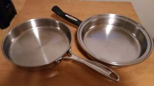 Fry Pans 2 Stainless steel try ply 1 ten inch and 1   11 inch