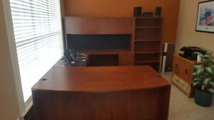 Executive Bow Front Desk with Return, Hutch and Book Case.
