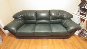Genuine Rawhide Green Leather Couch & Loveseat