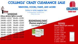 Doors, Windows, Generators, Flooring, and Paint Clearance Sale