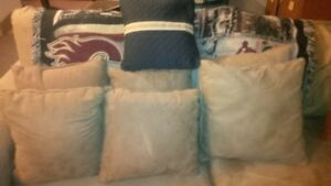 7 couch throw cushions - $2 each - 6 suede - 1 covered cotton