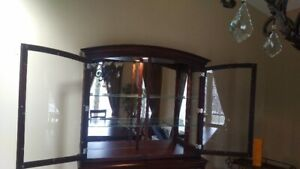 Maple Glass and Mirror Hutch