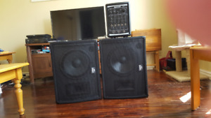 Kustom Profile 200 PA system with 2 Laney CXM-112 Stage Monitor