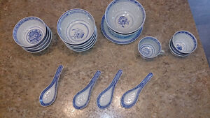 Mixed blue and white rice pattern dishes 20 pieces