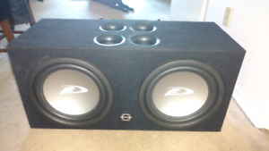 Selling sub with box and amp to 12 inch Alpine speakers