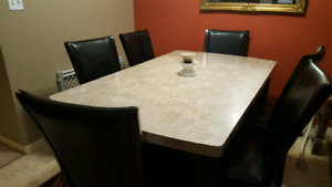Granite Dining Table and 6 Chairs