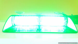 Green warning dash LED flashing volunteer firefighter light