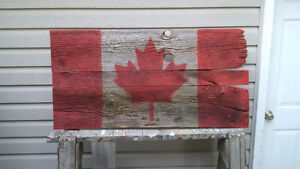Rustic Barnboard Painted Canadian flag